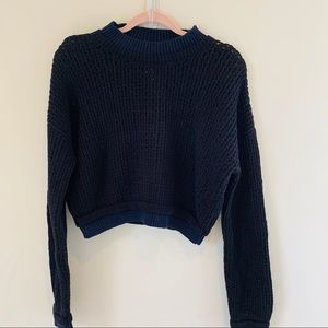 Silence and noise black sweater with navy trim